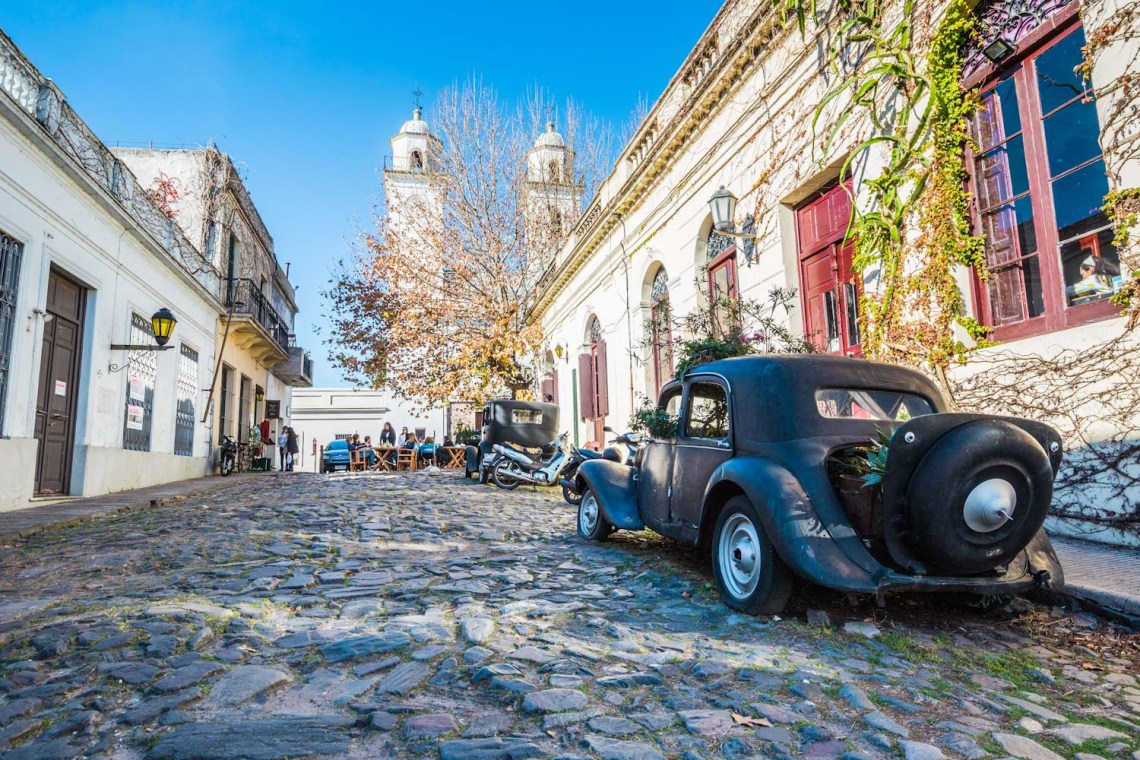Colonia Del Sacramento - July 02, 2017: Old vintage car in the o
