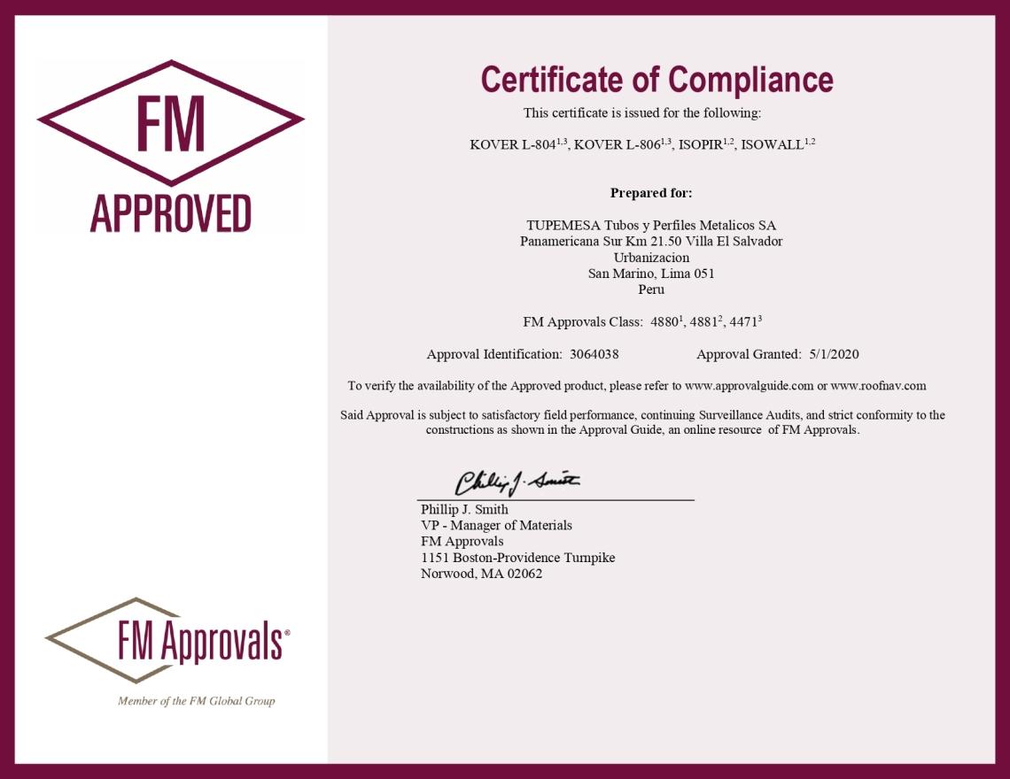 Certificación Tupemesa